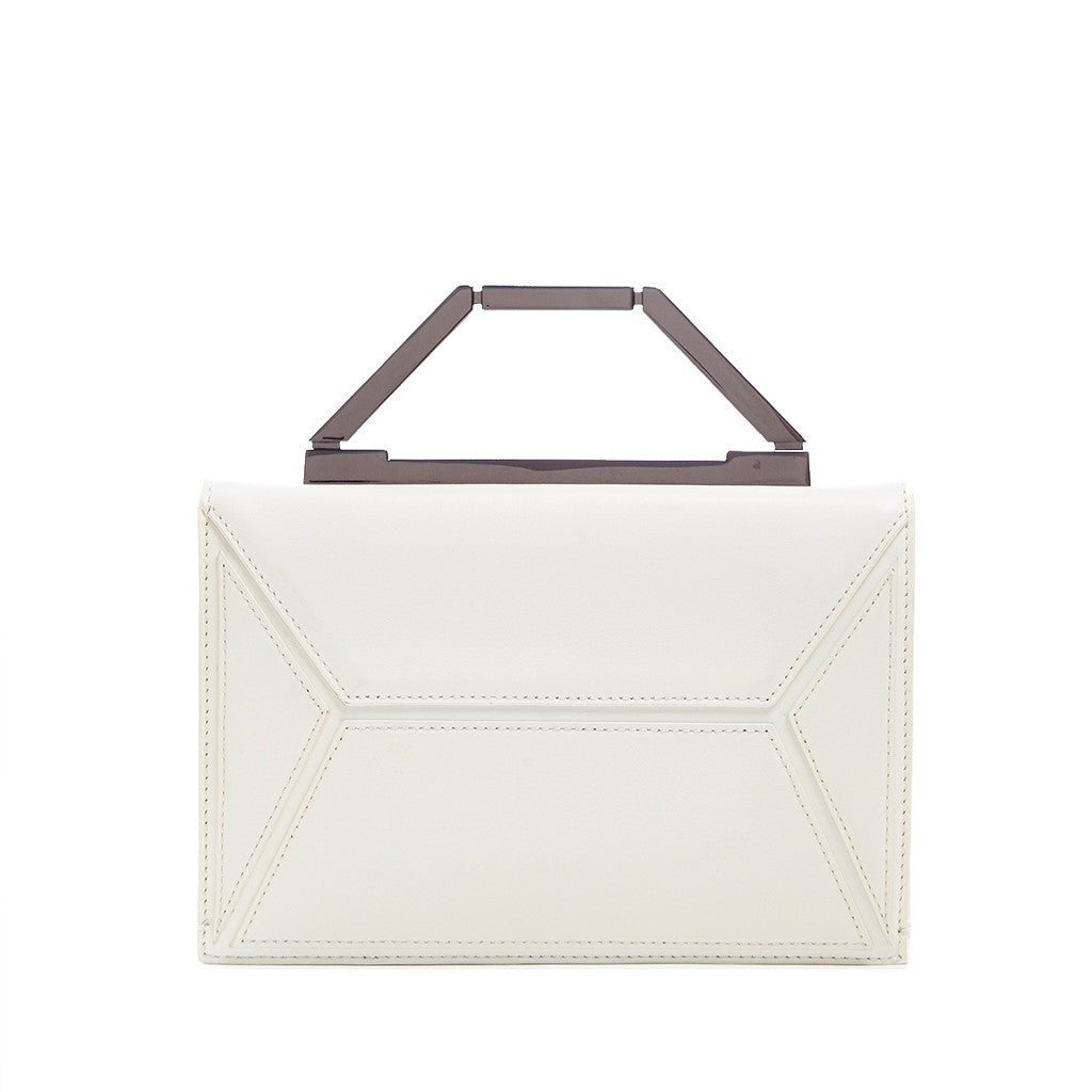 THE JENNIFER CLUTCH <br/> WHITE & GUNMETAL