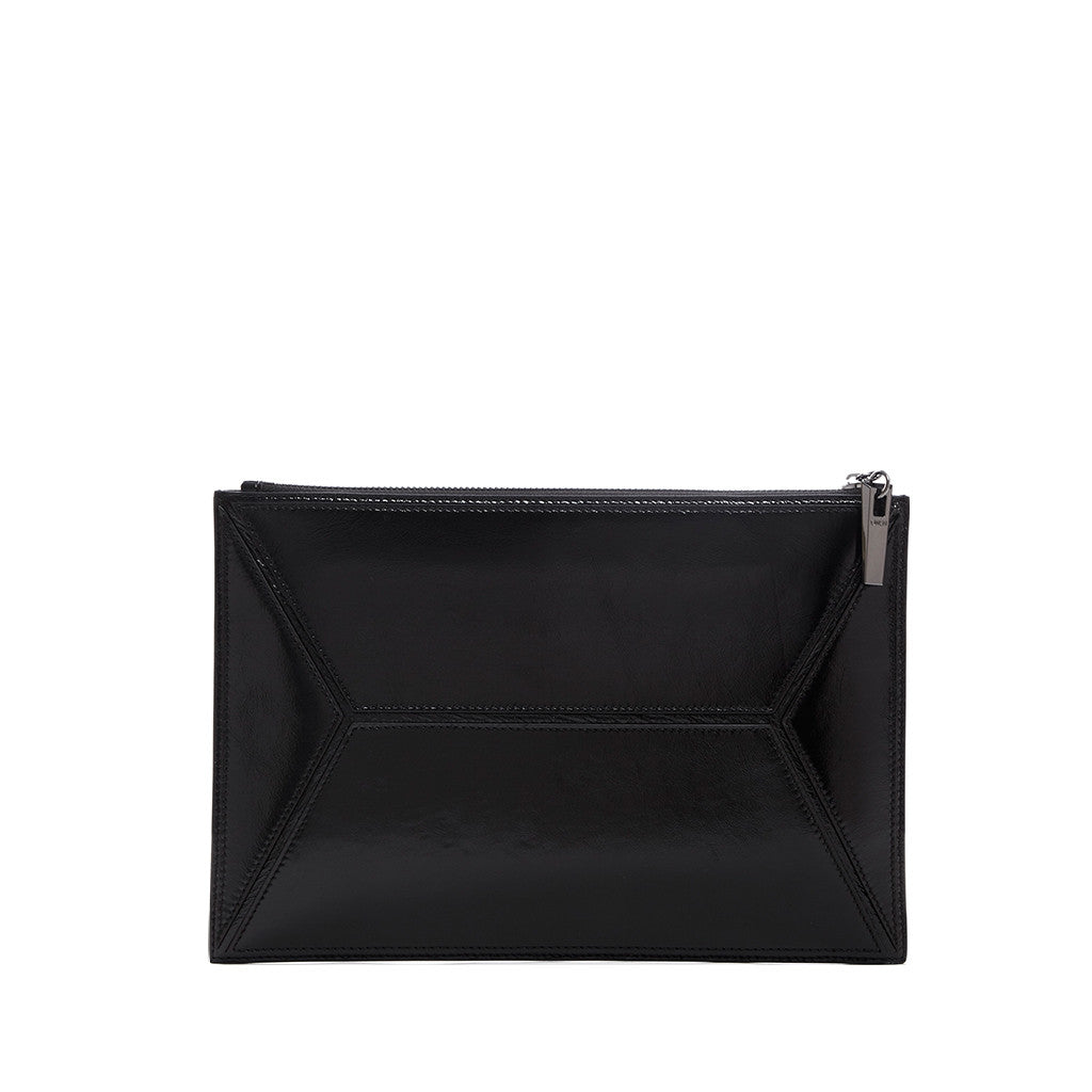 THE OWEN POUCH  <br/> BLACK CRINKLED PATENT