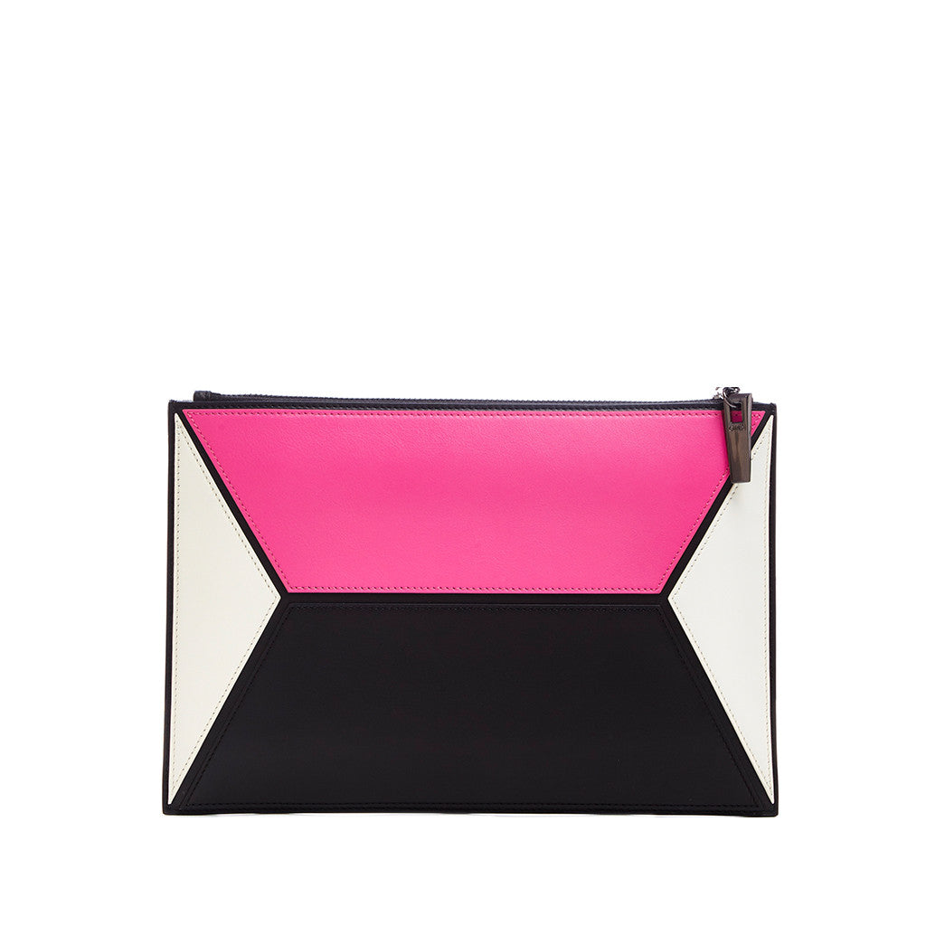 THE OWEN POUCH  <br/> PINK & WHITE COLOR BLOCK