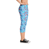 Fourth of July Special Edition Light Blue Capri Mommy Leggings - Jolly Dragons