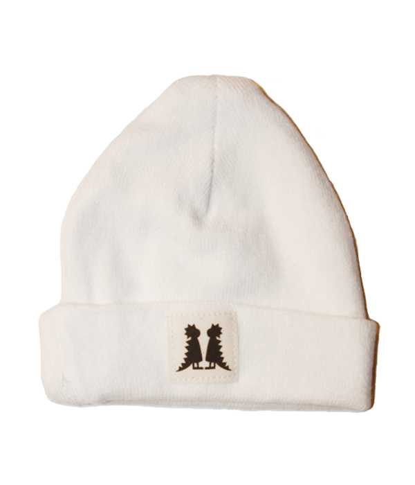 Organic Newborn White Beanie - Jolly Dragons