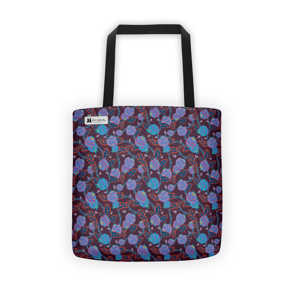 Flowers in Blue Tote - Jolly Dragons