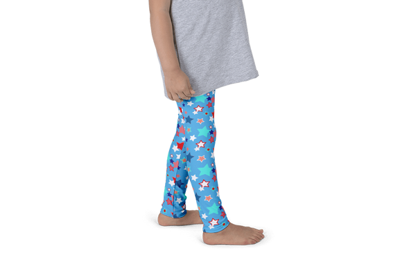 Fourth of July Special Edition Light Blue Kids Leggings - Jolly Dragons