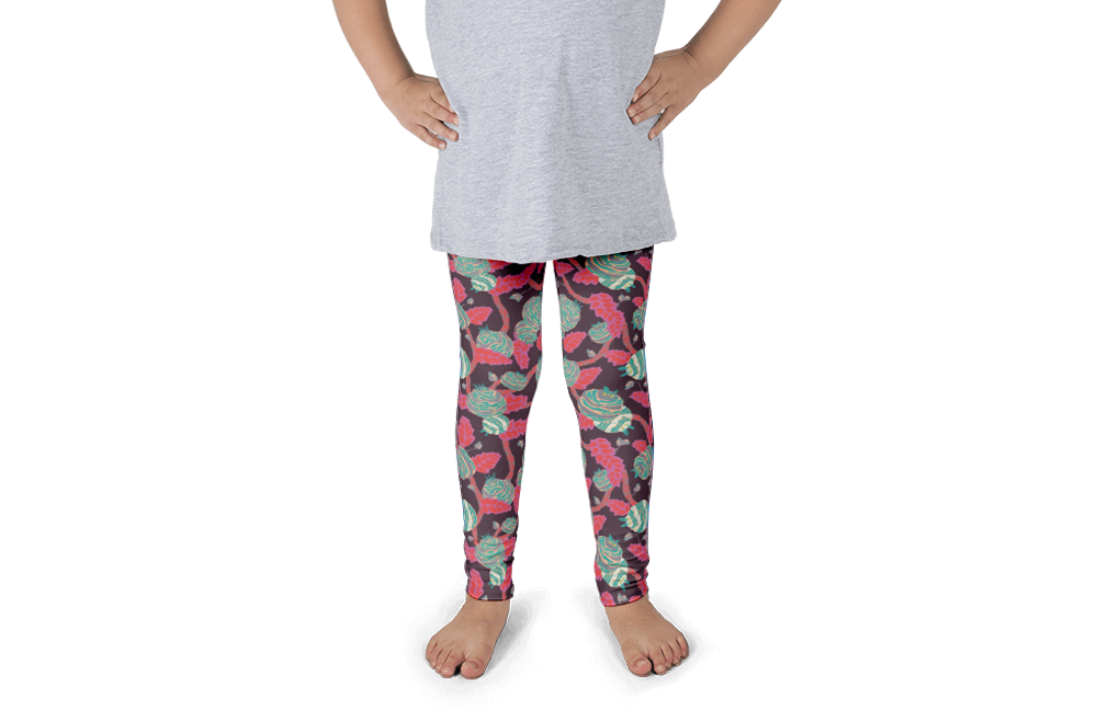 Flowers in Grey Jolly Dragons Kids Leggings