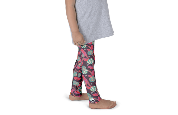Flowers in Grey Kids Leggings - Jolly Dragons