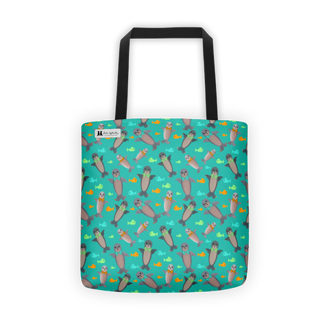 Turquoise Seal Tote - Jolly Dragons
