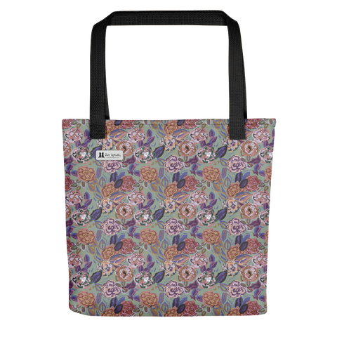 Roses Light Green Tote