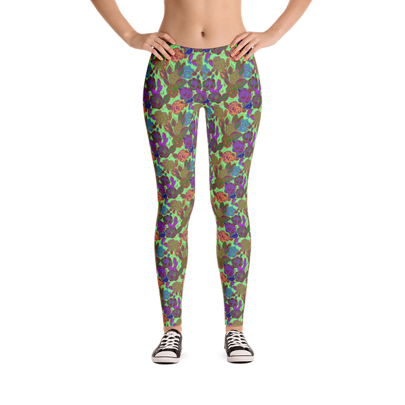 Roses Green Leggings - Jolly Dragons