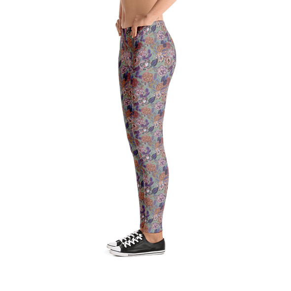 Roses Light Green Leggings - Jolly Dragons