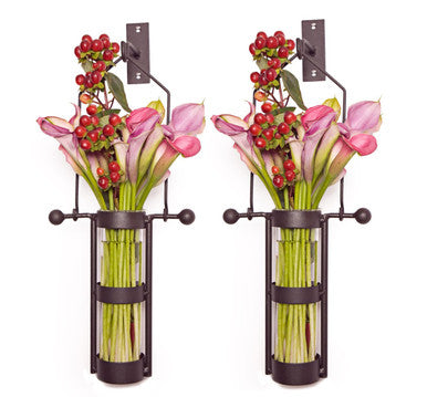 Wall Mount Hanging Glass Cylinder Vase Set With Metal Cradle And