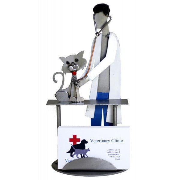Business card holders metal imagination veterinarian examining cat business card holder reheart Images