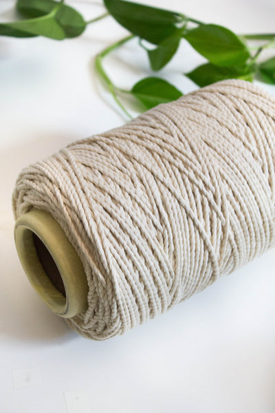 3mm Natural Cotton Two Strand Rope