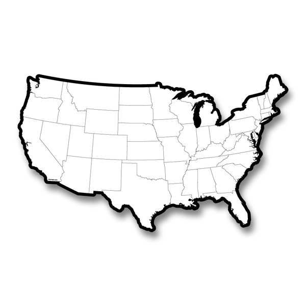 USA with States outlined