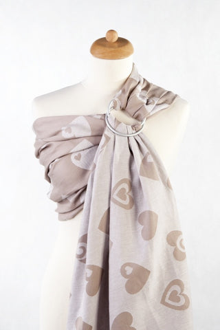 LennyLamb Jacquard Weave Ring Sling - Sweetheart Beige & Cream (84% cotton/ 16% linen)
