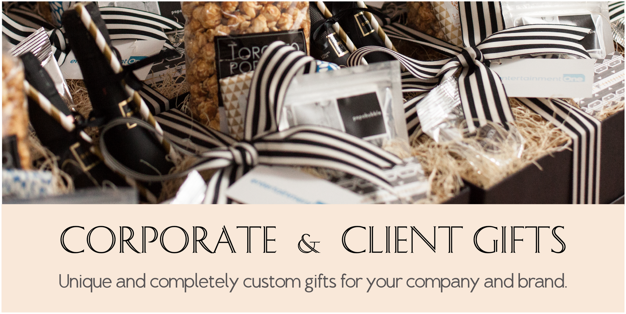 Toronto Corporate Gift Options and custom made giftbaskets for brands and businesses.