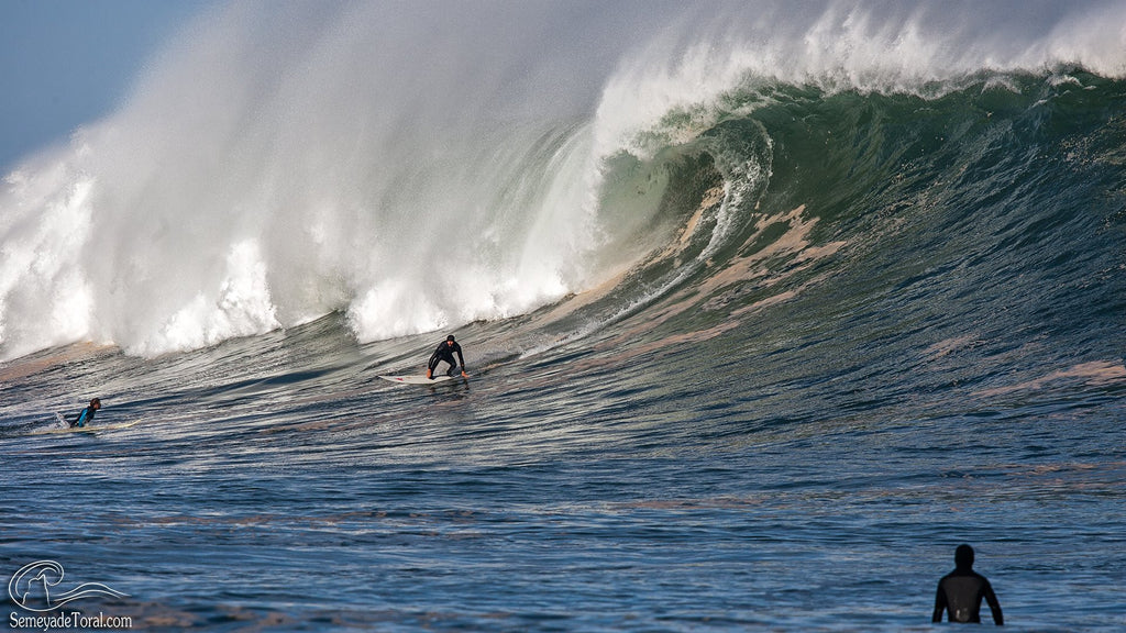 Surfer riding huge wave