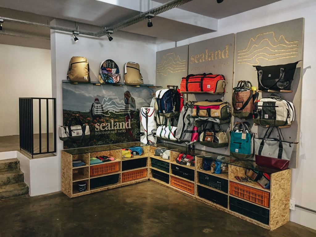 Sealand Gear stand in new shop in Bo-Kaap