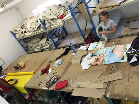 advertising banners being converted into bag lining in the Sealand cutting/material department