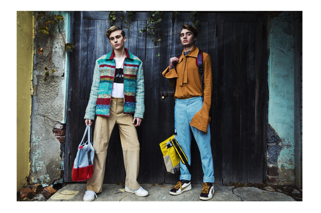 Models holding Sealand Gear bags featured in Vanity Teen