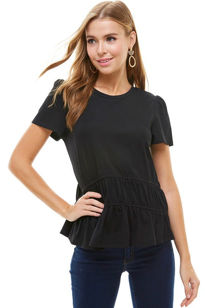 Lime and Marg Ruffle Top - Black