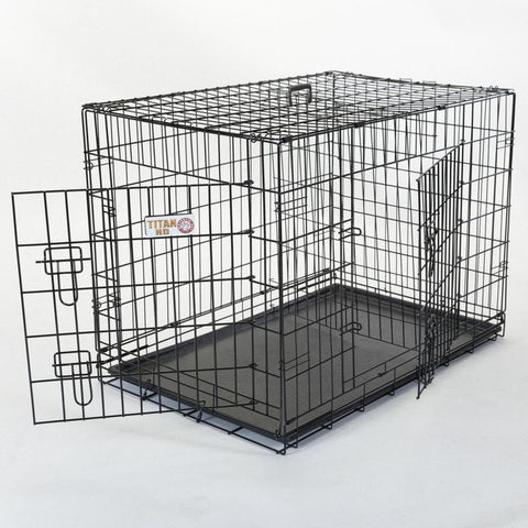 "Majestic Pet Products 36"" Double Door Folding Dog Crate-Medium"