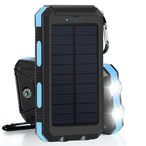 detailed look 1e6a6 791bb Charger | Waterproof Solar Charger Tingso Solar Power Bank 10000mAh  External Backup Battery Pack Dual USB Solar Panel Phone Charger with 2 LED  ...