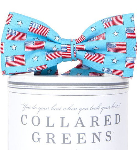Boys Old Glory Bow Tie Sky Blue - Youth