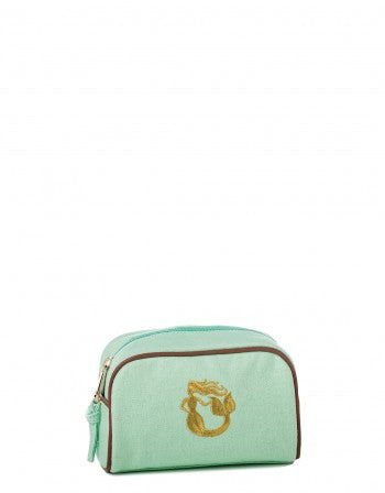 Sea Foam Travel Pouch with Embroidered Gold Metallic Mermaid