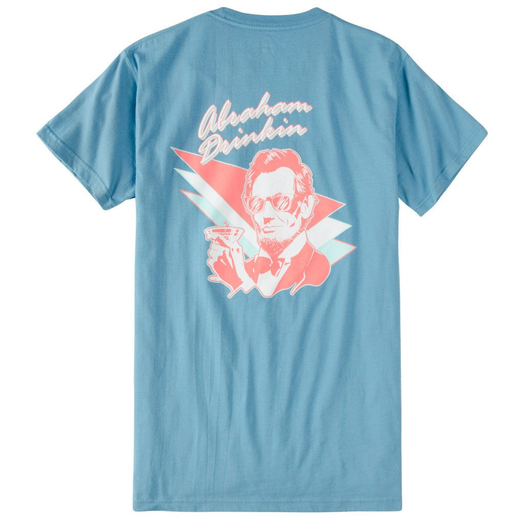 Abraham Drinking Short Sleeve Pocket Tee - Niagra Blue