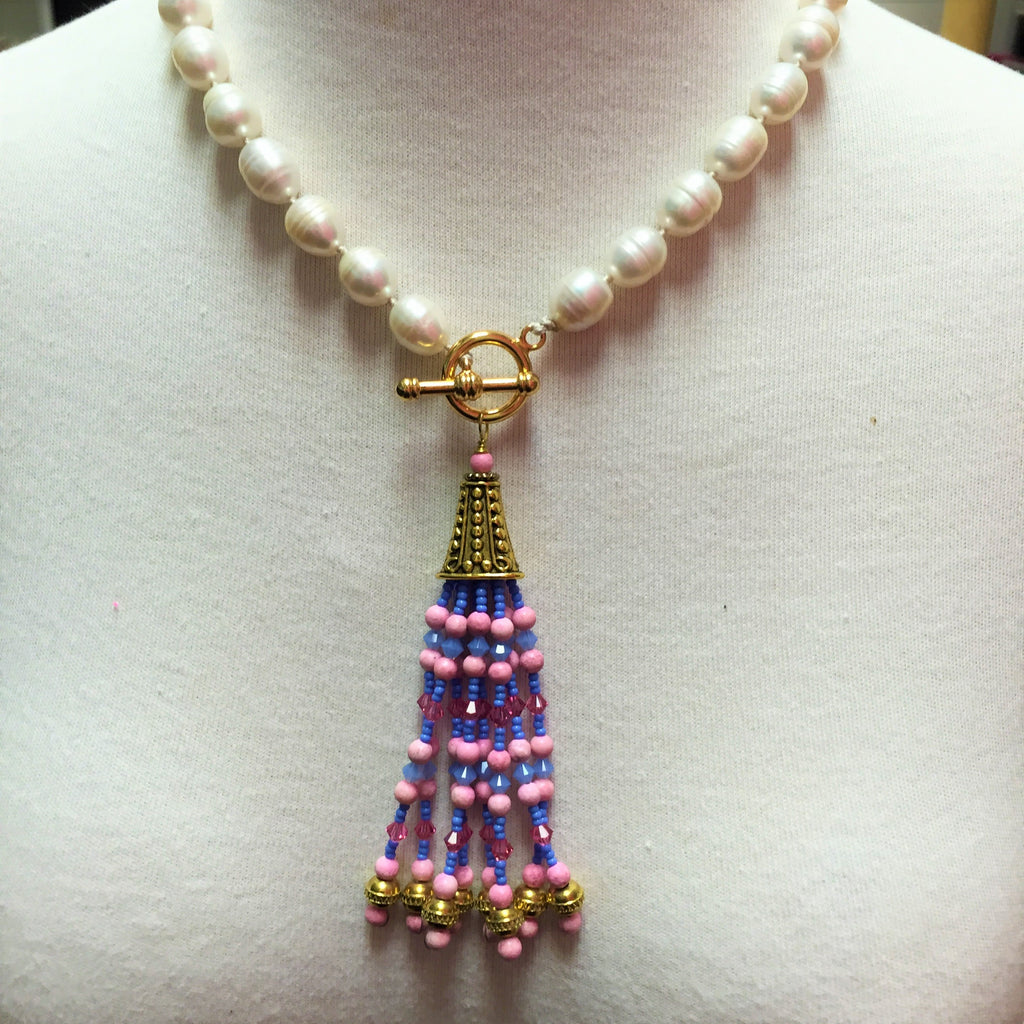 LDJ Pearl Toggle Necklace with Handmade Tassel