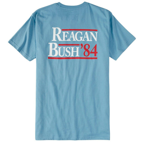 Reagan Bush Short Sleeve Pocket Tee - Niagra Blue