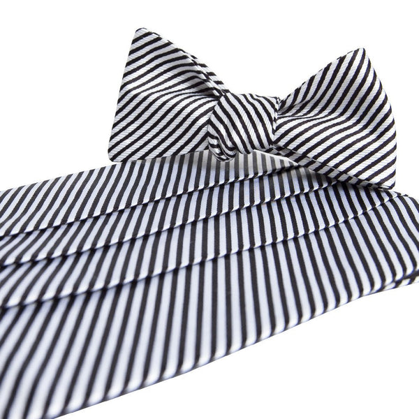 Signature Series Stripes Cummerbund & Bow Set - Black