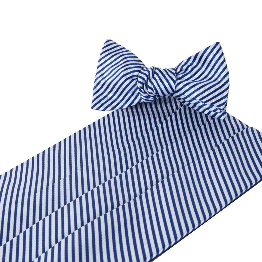 Signature Series Stripes Cummerbund & Bow Set -Navy