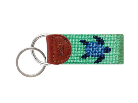 Blue Turtle Needlepoint Key Fob