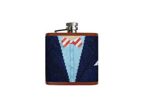 Blue Blazer Needlepoint Flask