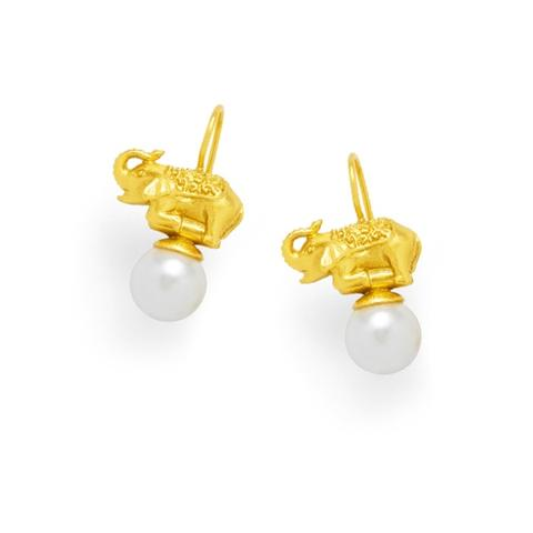 Elephant Pearl Drop Earrings