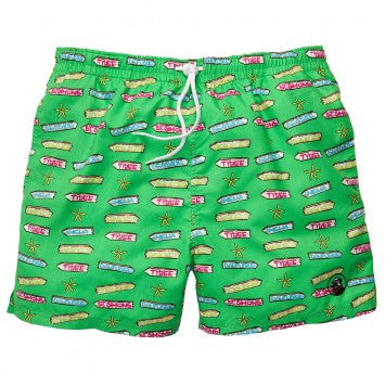 Beach Signs Swim Trunks - Green