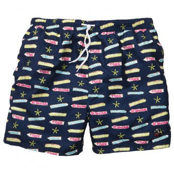 Beach Signs Swim Trunks - Navy
