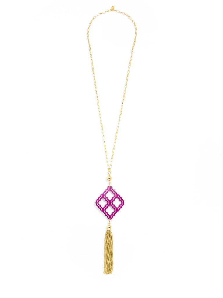 Zenzii Lattice Pendant Tassel Necklace