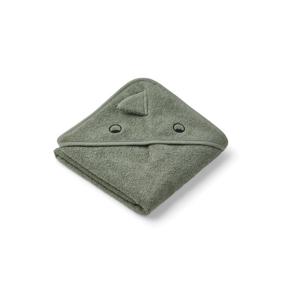 Liewood Albert Hooded Baby Towel (Dino Faune Green)