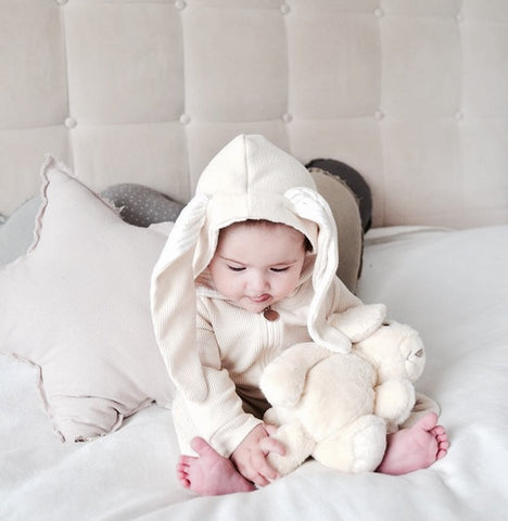 Lala Bunny Ears Hood Jumpsuit (Cream White)