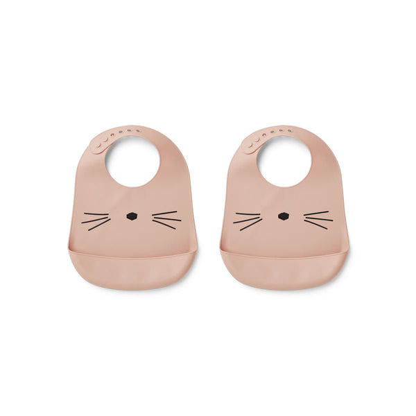 Liewood Tilda Silicone Bib - Cat Rose (2 Pack)