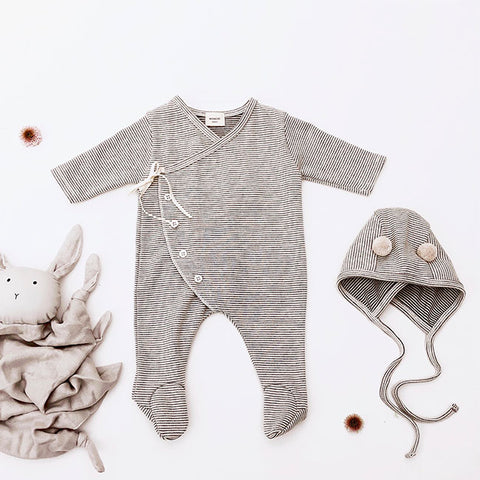 Monbebe Pom Pom Bear Babygrow + Bonnet Set (Grey)