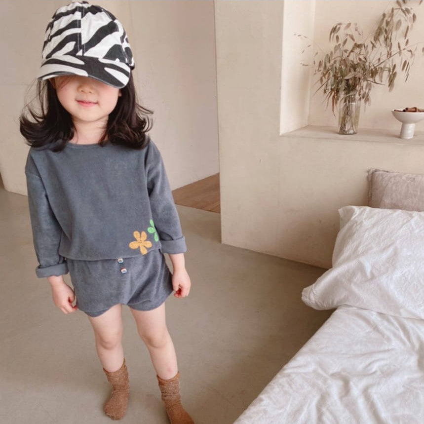 Flower Terry Top and Shorts Set (Charcoal)
