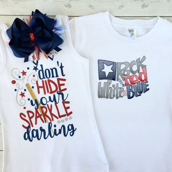 All American Girl - Glitter Sparkle Darling Ruffle Shortie Set