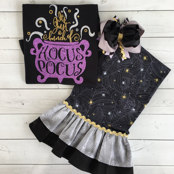 Hocus Pocus Perfection- Glitter Cauldron Double Ruffled Pant Set