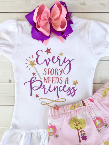 Every Story Needs a Princess Glitter Shirt and Shortie Set