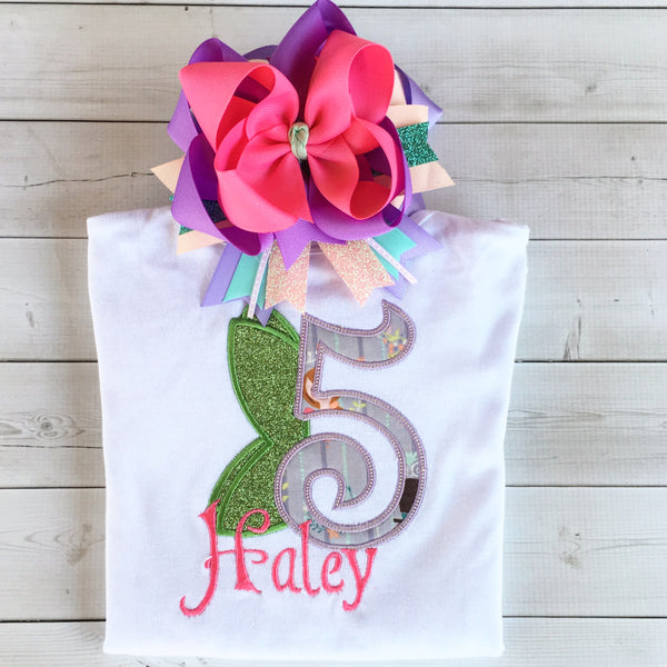 Off to Neverland - Fairy Birthday Embroidered Shirt / Peek-a-Boo Shortie Set