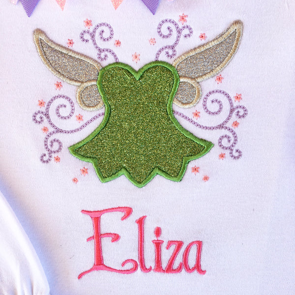 Off to Neverland-  Fairy Dress Embroidered SHIRT ONLY
