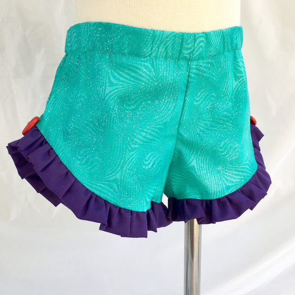 "Under The Sea Glitter ""Mightier Than the Waves"" Ruffle Shortie Set"